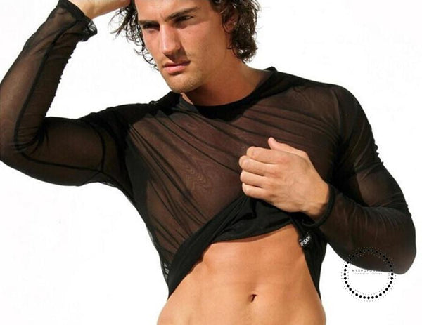 Exy See-Through Transparent Long Sleeve Gyms T-Shirt Mens Sexy Tights Undershirt Summer Fitness Tops