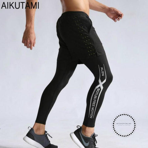 Fake 2 Piece Sports Tights For Men Leggins Shorts And Compression Pants Fitness Clothing