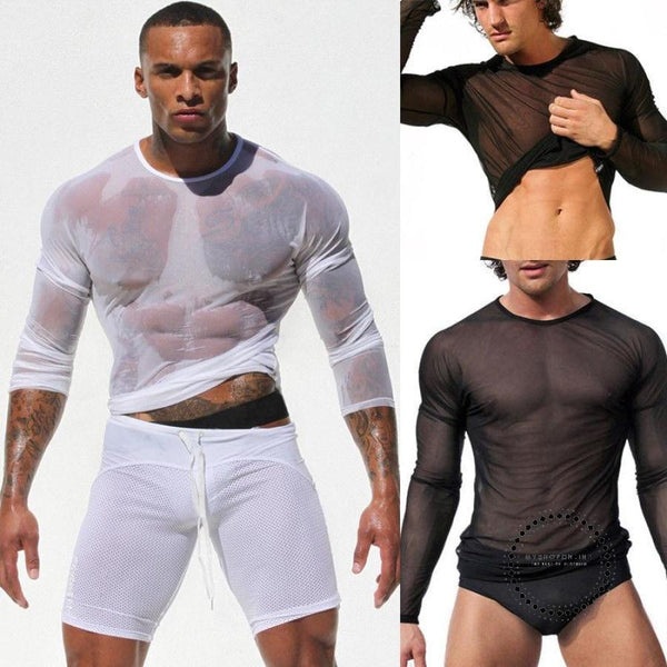 Fashion Mens Long Sleeve Black/white Mesh Sheer T-Shirt Transparent Fishnet Tee Tops