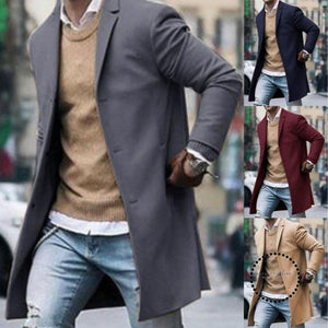 Fashion Mens Wool Blend Coat Winter Overcoat Buttons Jacket Outwear Long Sleeve Trendy Streetwear