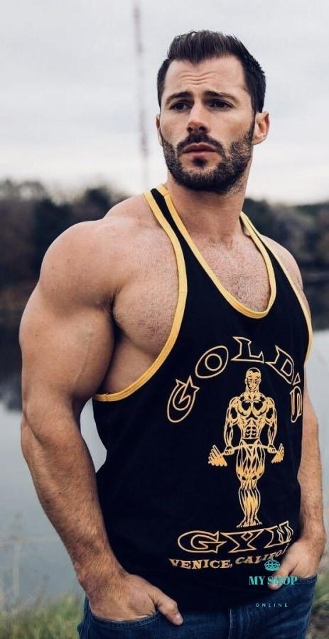 Fitness Men Undershirt Tank Tops Golds Gyms Sportswear Jerseys Black/gold / M