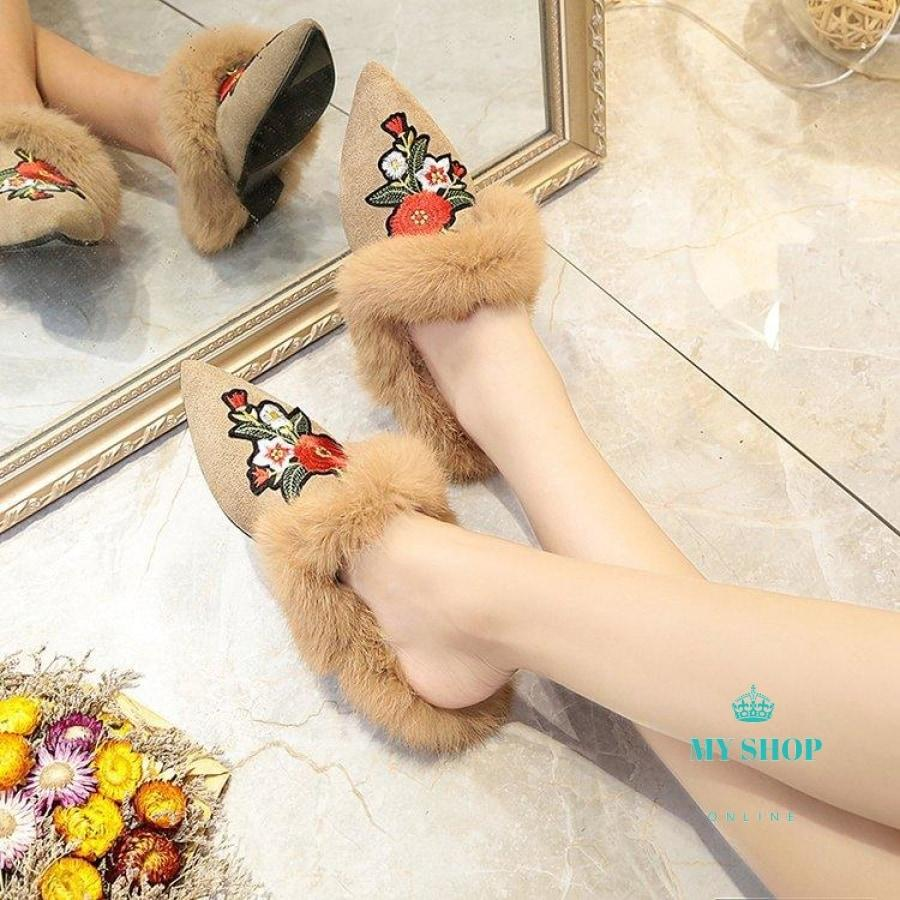 Fur Slippers Woman Winter Pointed Toe Flock Sandals Rabbit Flip Flops Black Red Flower / 5