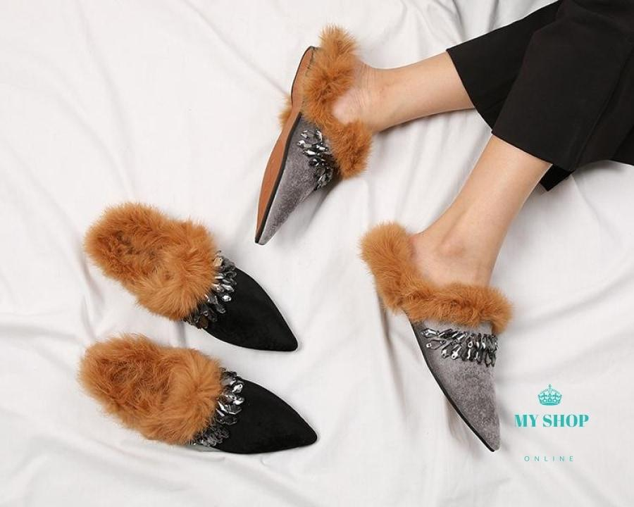 Fur Slippers Women Crystal Beading Mules Shoes