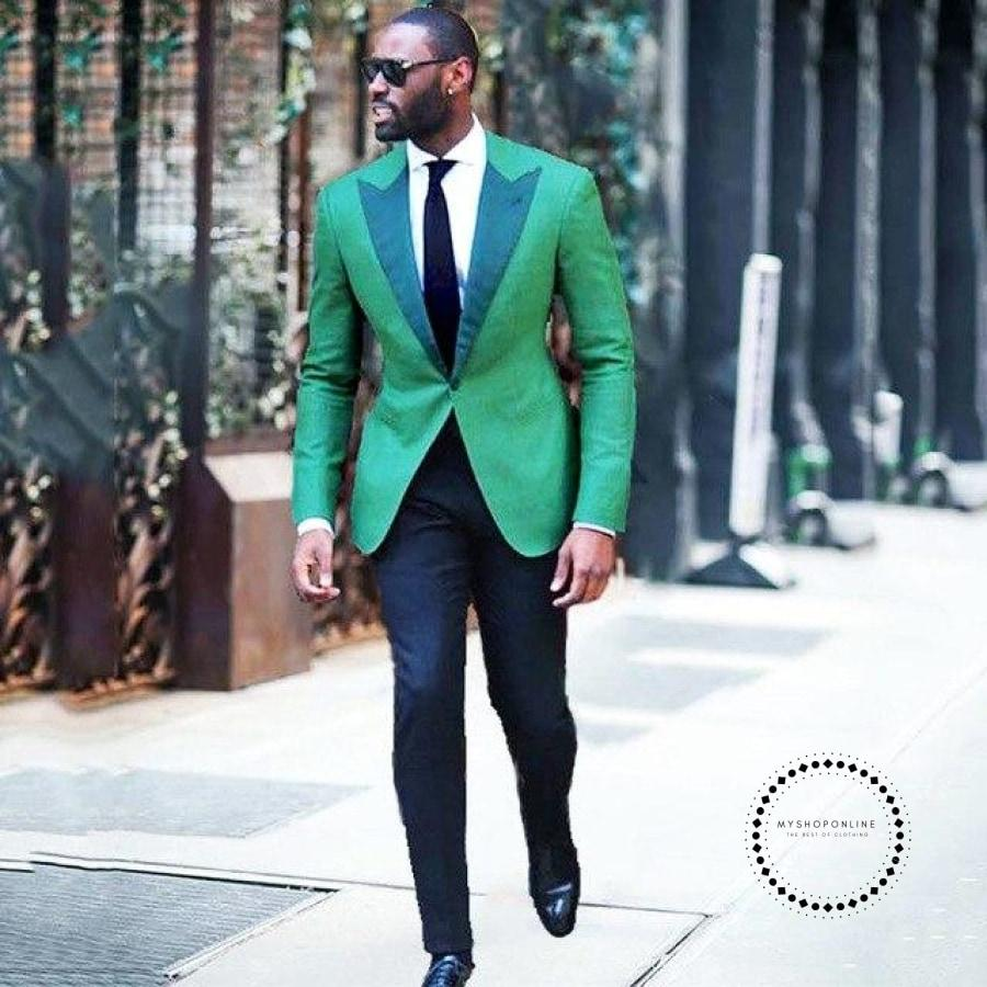 Green Men Suit For Casual Stage Peaked Lapel Custom Blazer Classic Jacket Slim Fit Tuxedo 2 Piece