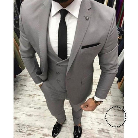 Grey Men Suit Slim Fit 3 Pieces Skinny Tuxedo Gray Mens Suits Custom Groom Blazer Terno Masculino
