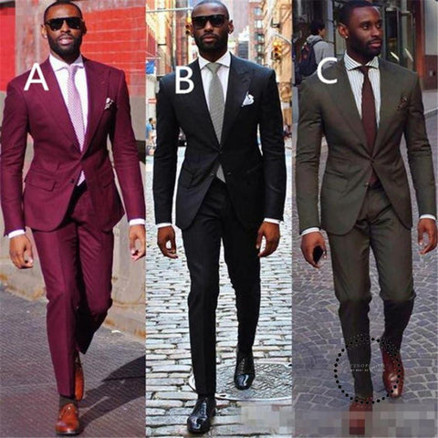 Groom Suit Wedding Tuxedo Black Burgundy Tuxedos For Men Slim Fit Blazer