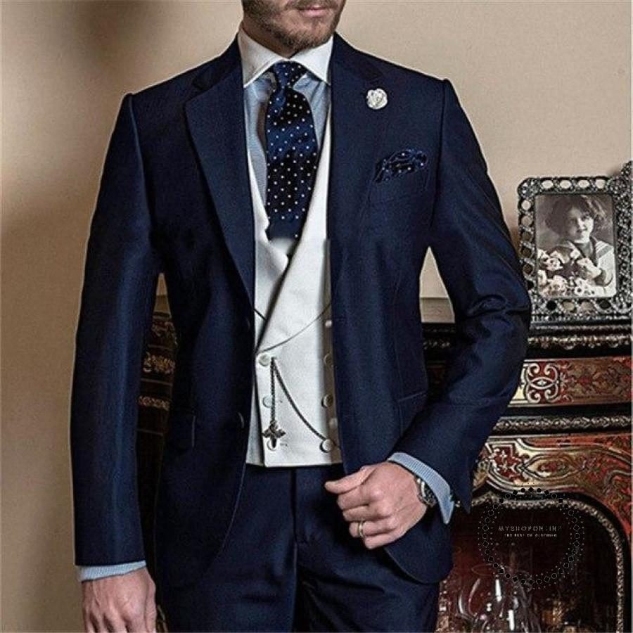 Groomsman One Button Dress Groom Top Lapel Mens Suit Wedding Best Jacket (Jacket + Pants Vest Tie)