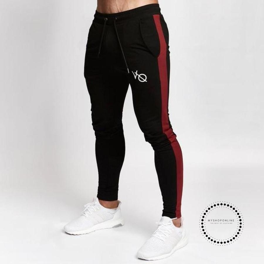 Gyms Mens Joggers Pants Fitness Casual Fashion Brand Sweatpants Bottom Snapback Men Black Red / M