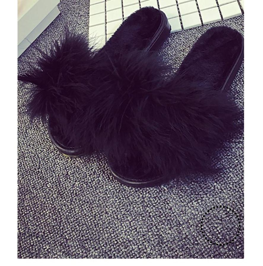 Hair Slippers Fur Furry Slide Flip Flops Women Home Female Sweet Fenty Indoor Soft Comfotable