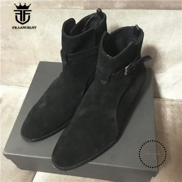 Handmade Brown Suede Genuine Leather Mens Chelsea Boots With The Strap Boots Street Luxury Black / 6