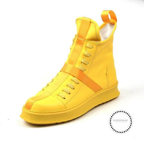 High Shoes Men Youth Casual Platform Hip-Hop Short Boots Men Yellow Leisure Shoes For Web Celebrity