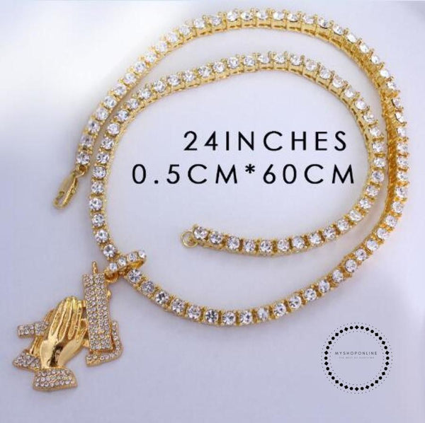 Hip Hop Jewelry Choker 18 Cz Full Iced Cuban Chains 8Mm 20/5Mm 24 Crystal Tennis Chain Praying Hands