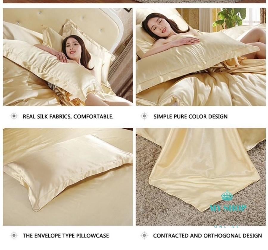 Hot! 100% Pure Satin Silk Bedding Set Accesorios