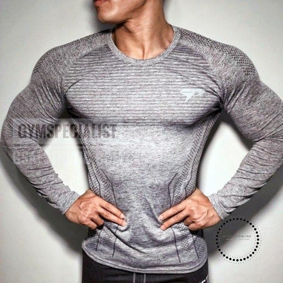 3D Printing Men Long Sleeve T Shirt Gym Compression Tights Tops Fitness T-shirt - myshoponline.com