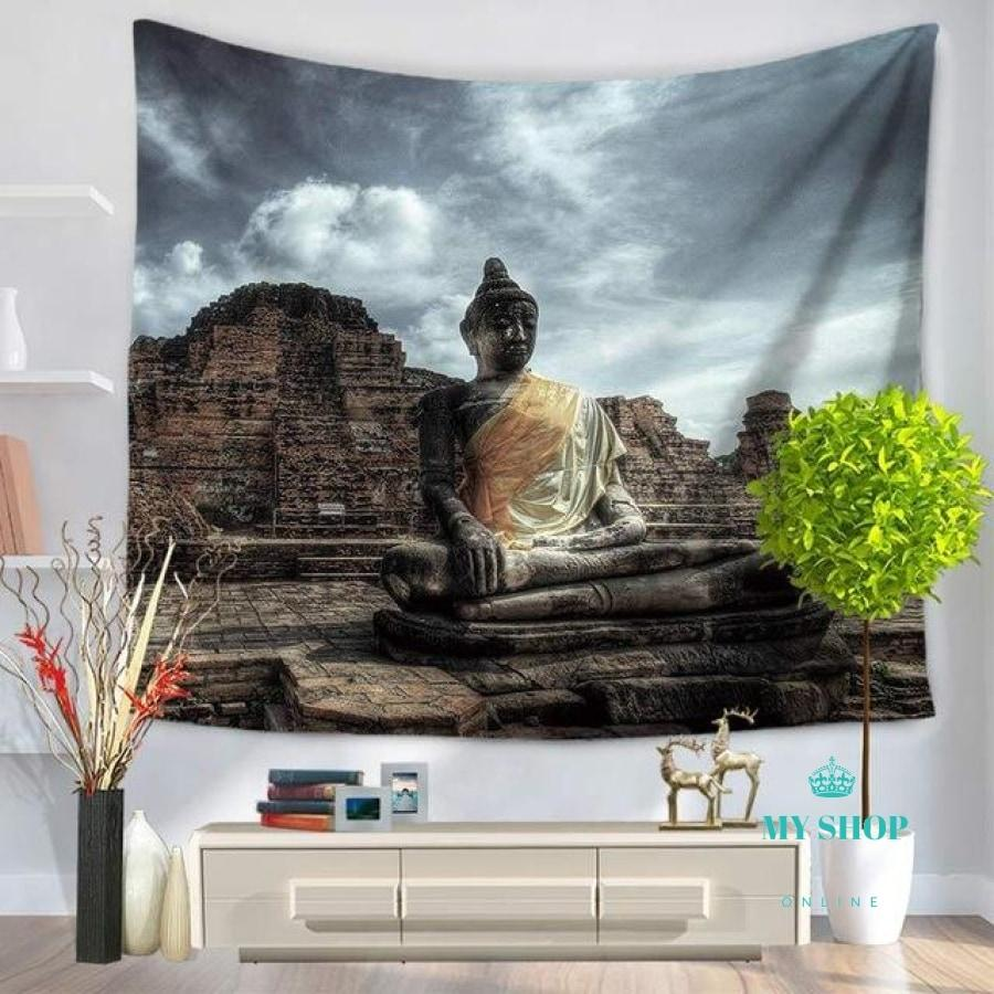 Indian Mandala Tapestry Figure Of Buddha Printed