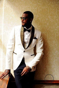 Ivory Wedding Suits Tuxedos Slim Fit Gold Pattern Lapel Prom Party For Men Cheap Groomsman Suit