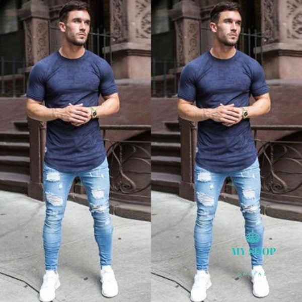 Jeans Men Slim Moto Biker Denim Skinny Stretchy Frayed Pencil Pants Distressed Ripped Troursers