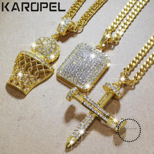 Karopel Iced Out Bling Cz Crystal Pendant Golden Basketball Cross Necklace 24 Inch Link Chain Hip