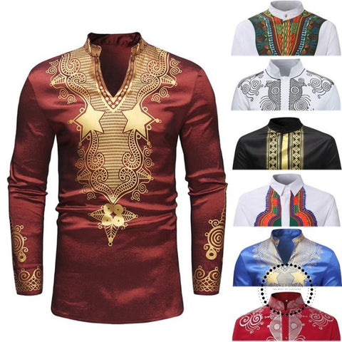 Latest Design Tribal Pattern Male Traditional African Shirt Classic Print Africa Men Dashiki T White
