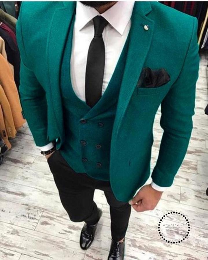 Latest Green Tweed With Black Pant Men Suit For Wedding 3Pcs Masculino Slim Fit Tuxedo Mens Suits