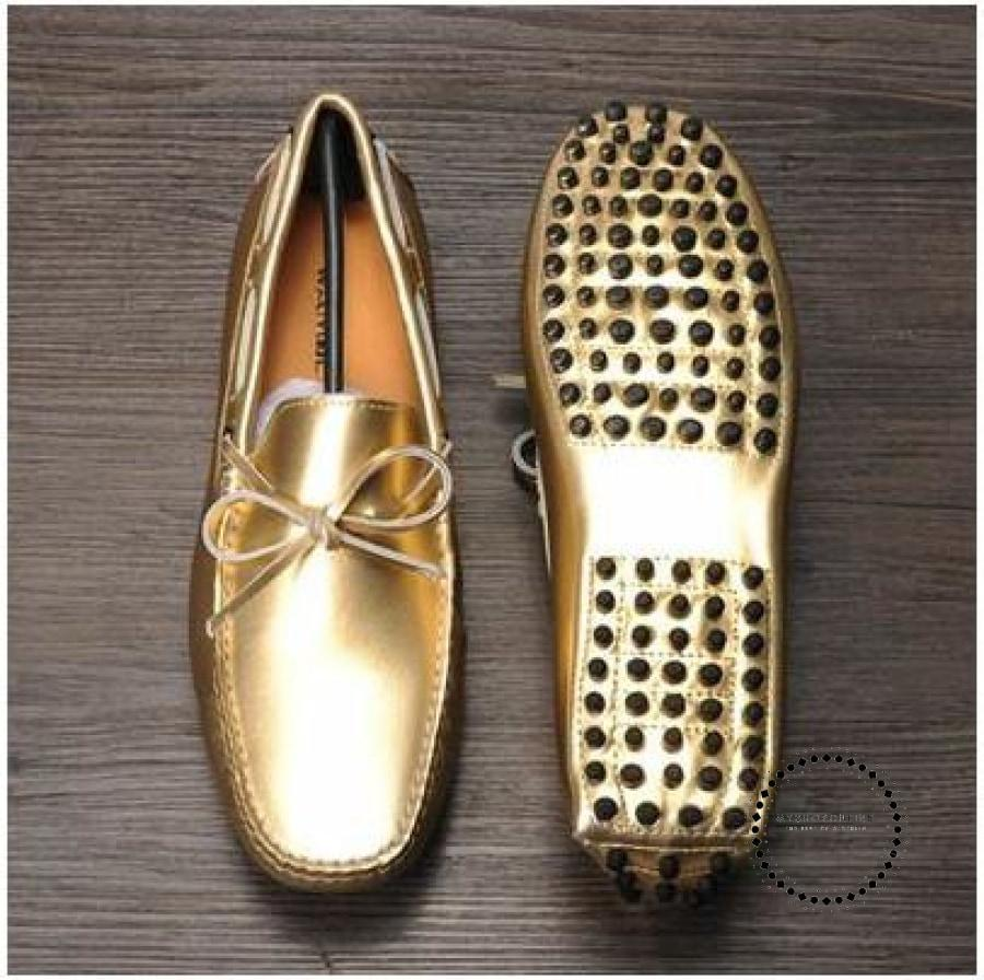 Leather Men Tassel And Bow-Tie Loafers Gold Sliver Black Moccasins Slip On Casual Shoes Comfortable