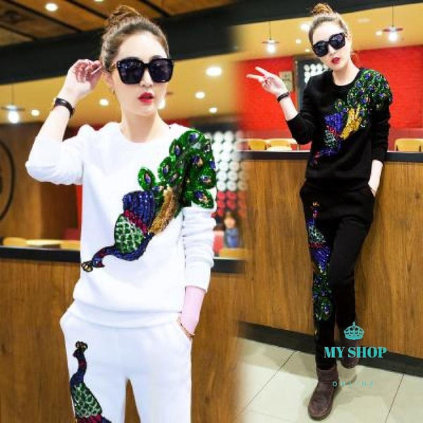 Long Sleeve Cotton Womens Tracksuits Embroidered Sequins 3D Peacock Sweatshirts Tops+Long Pants Two