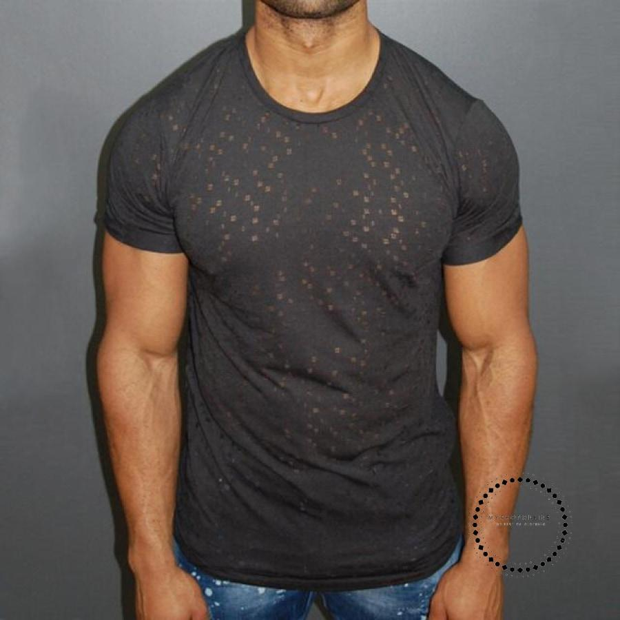 Male Short Sleeve T Shirt O-Neck Men T-Shirt Simple Solid Color Tee Tops Hole Shirts Black / Xxxl