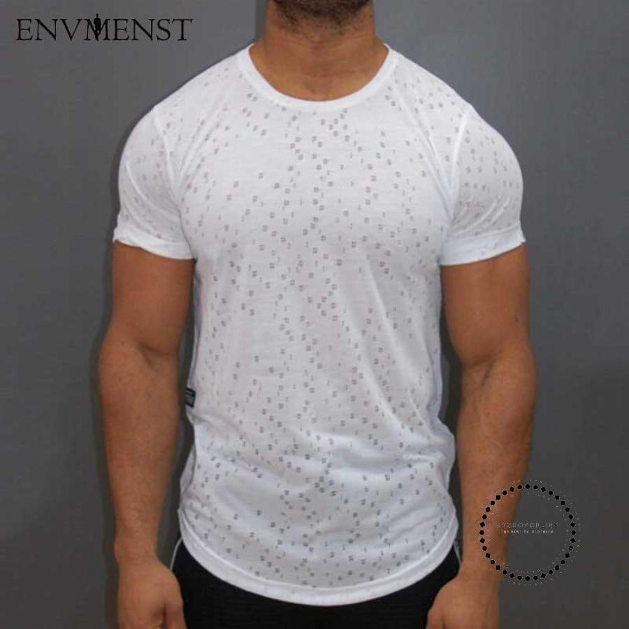 Male Short Sleeve T Shirt O-Neck Men T-Shirt Simple Solid Color Tee Tops Hole Shirts