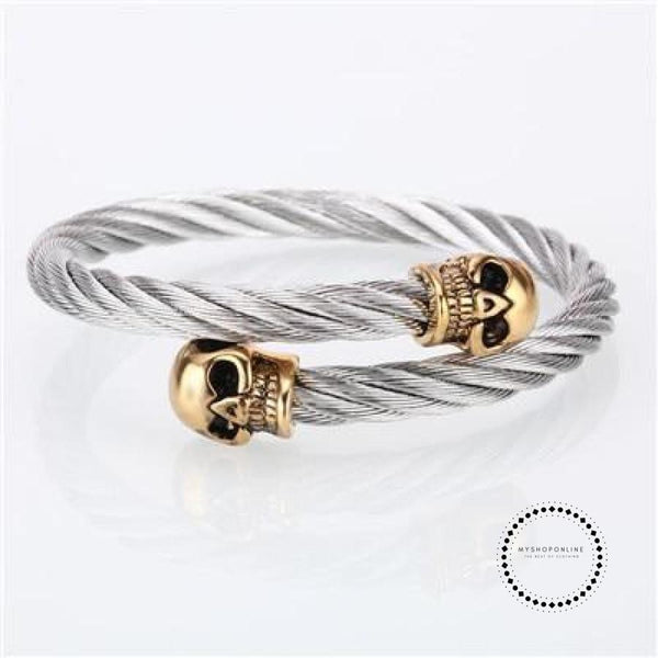 Mcllroy Bangle Men/stainless Steel/metal/open/skull Bracelets & Bangles Vintage Punk Rock Gold Man