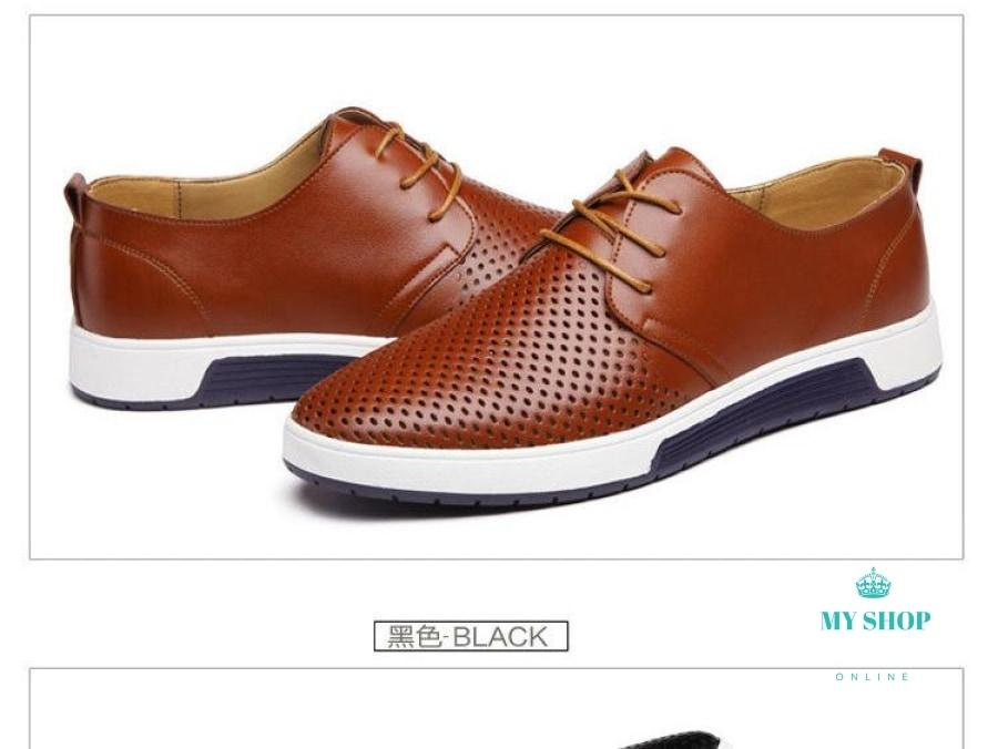 Men Casual Shoes Leather Summer Breathable Holes Luxury Brand Flat Accesorios