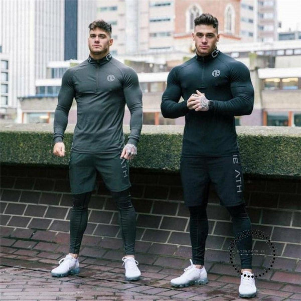 Men Compression Shirts Bodybuilding Skin Tight Long Sleeves Solid Color Clothing Workout Fitness