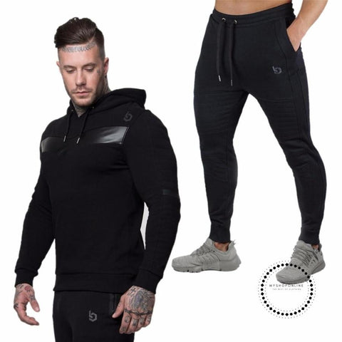 Men Fashion Long Sleeve Hoodies+Pants Set Male Tracksuit Outdoors Sport Suit Mens Gyms Casual