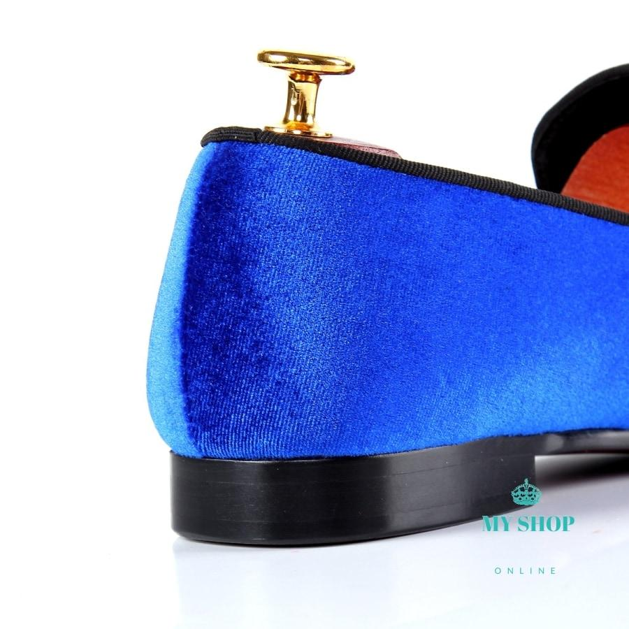 Men Shoes Brand Blue Velvet Loafers Accesorios