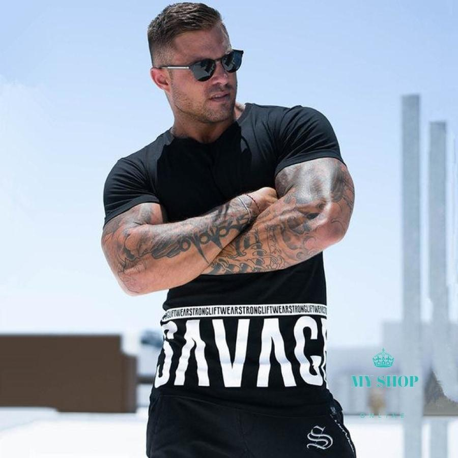 Men Short Sleeve T-Shirt Fitness Workout Cotton T Shirt Man O-Neck Letter Printed Slim Tee Tops