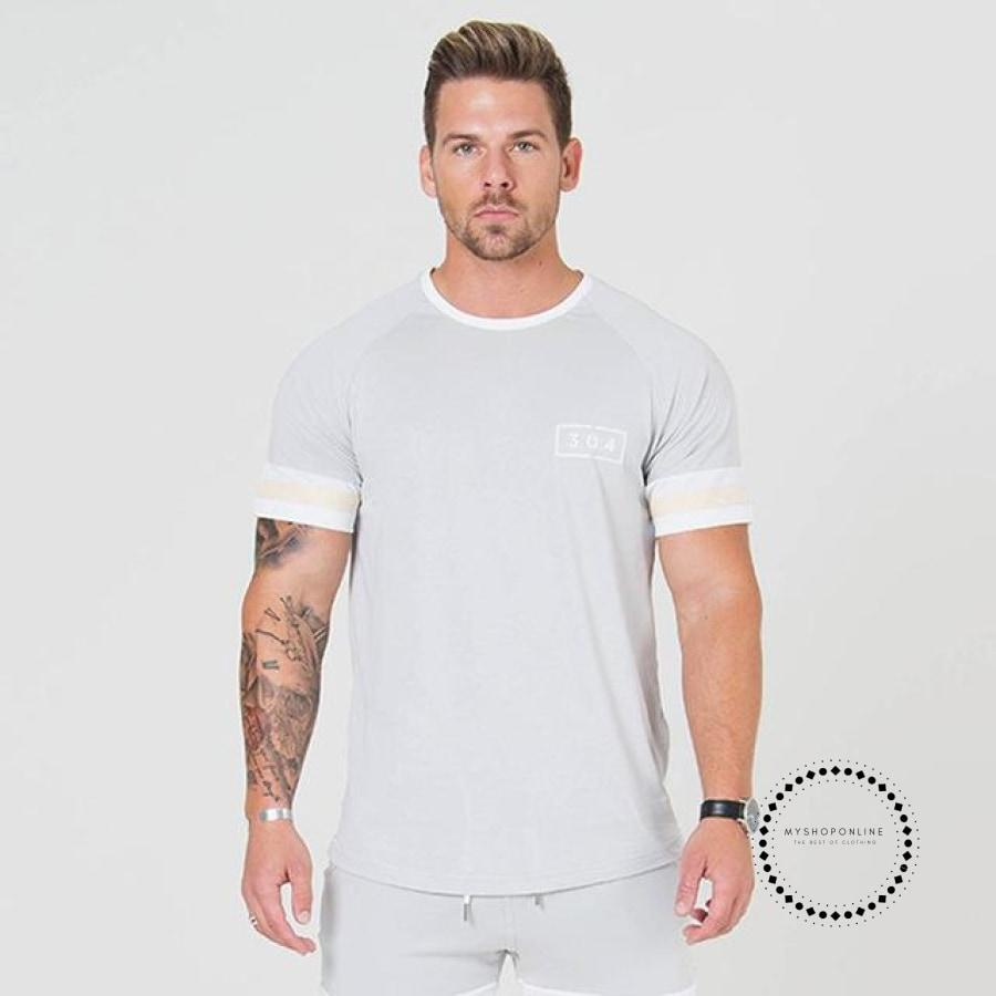 Men Short Sleeve T-Shirt Summer Casual Fashion Slim Cotton T Shirt Male Jogger Gyms Fitness Workout