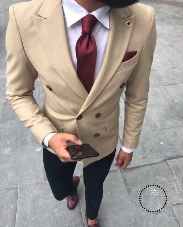 Men Suits Double Breasted Blazer Wedding Groom Tailored Made Tuxedo Man Slim Fit Prom