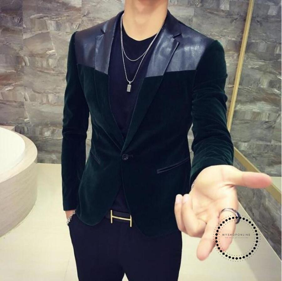 Mens Blazer Slim Fit Suit Jacket Army Green Velvet Spring Autumn Outwear Coat Suits For Men Leather