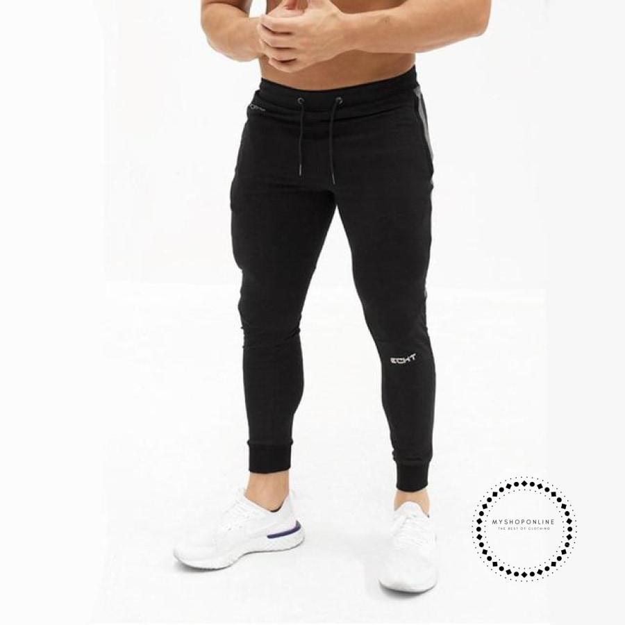 Mens Casual Fitness Joggers Pants Gyms Stretch Cotton Men Skinny Sweatpants Slim Workout Black / M