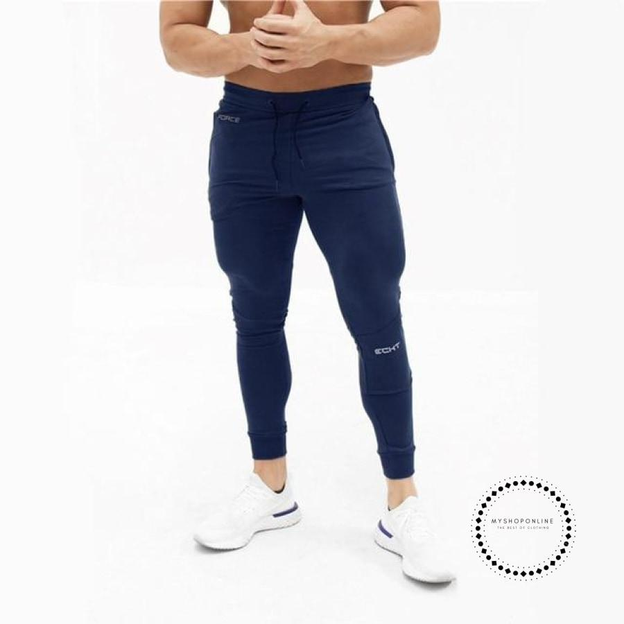 Mens Casual Fitness Joggers Pants Gyms Stretch Cotton Men Skinny Sweatpants Slim Workout Blue / M