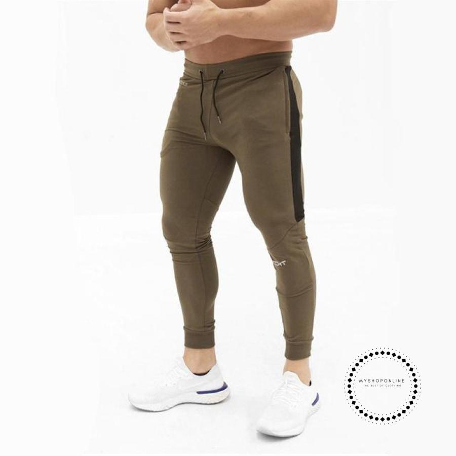 Mens Casual Fitness Joggers Pants Gyms Stretch Cotton Men Skinny Sweatpants Slim Workout Khaki / M