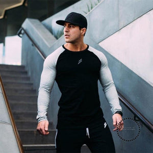 Mens Long Sleeve T Shirts 2018 Spring Summer Slim Male Tops Leisure Bodybuilding Personality Tees
