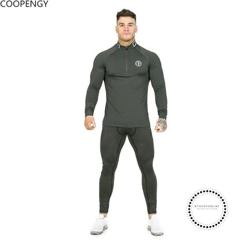 Mens Sportwear Sweatshirt Tracksuit Without Hoodie Men Printed High Elasticity Set Muscle Shirt
