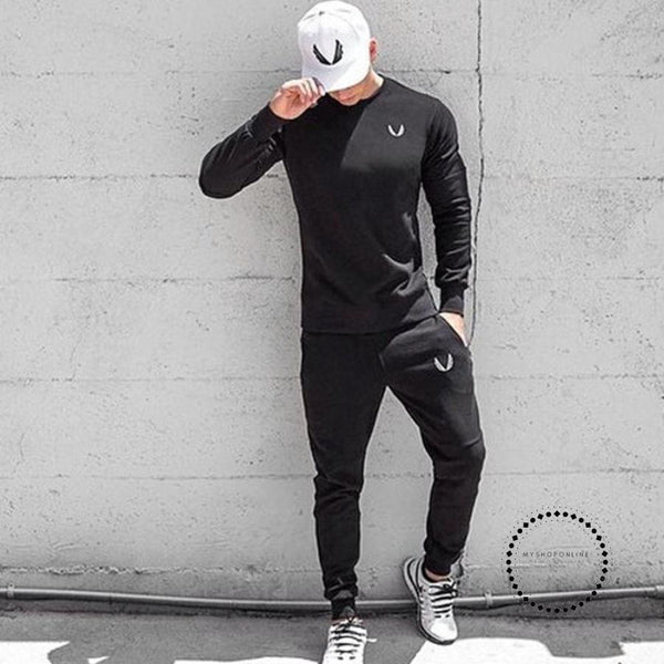 Mens Spring Autumn Pullover Fashion Leisure Sportswear Gyms Fitness Hoodies Sweatshirts Clothing