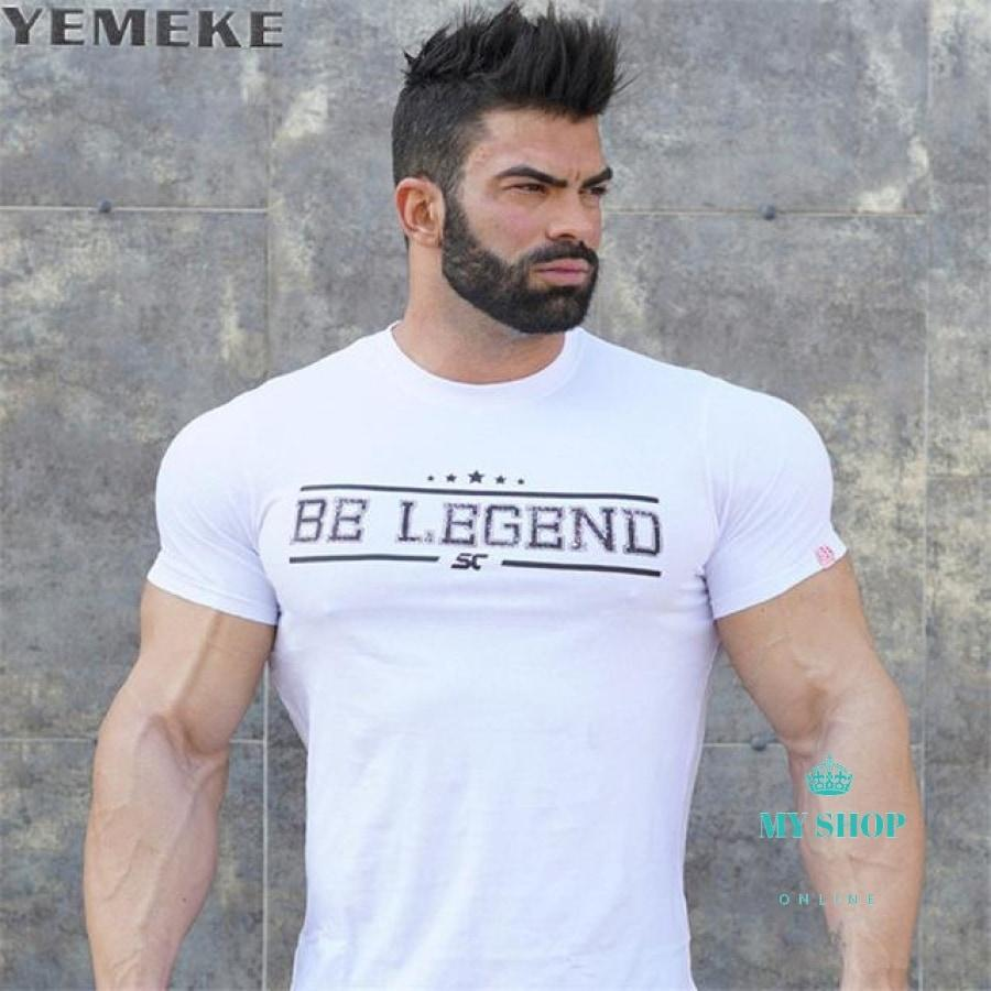 Mens Summer Fitness Bodybuilding Cotton T-Shirt Gyms Workout Short Sleeve Shirts Male Fashion