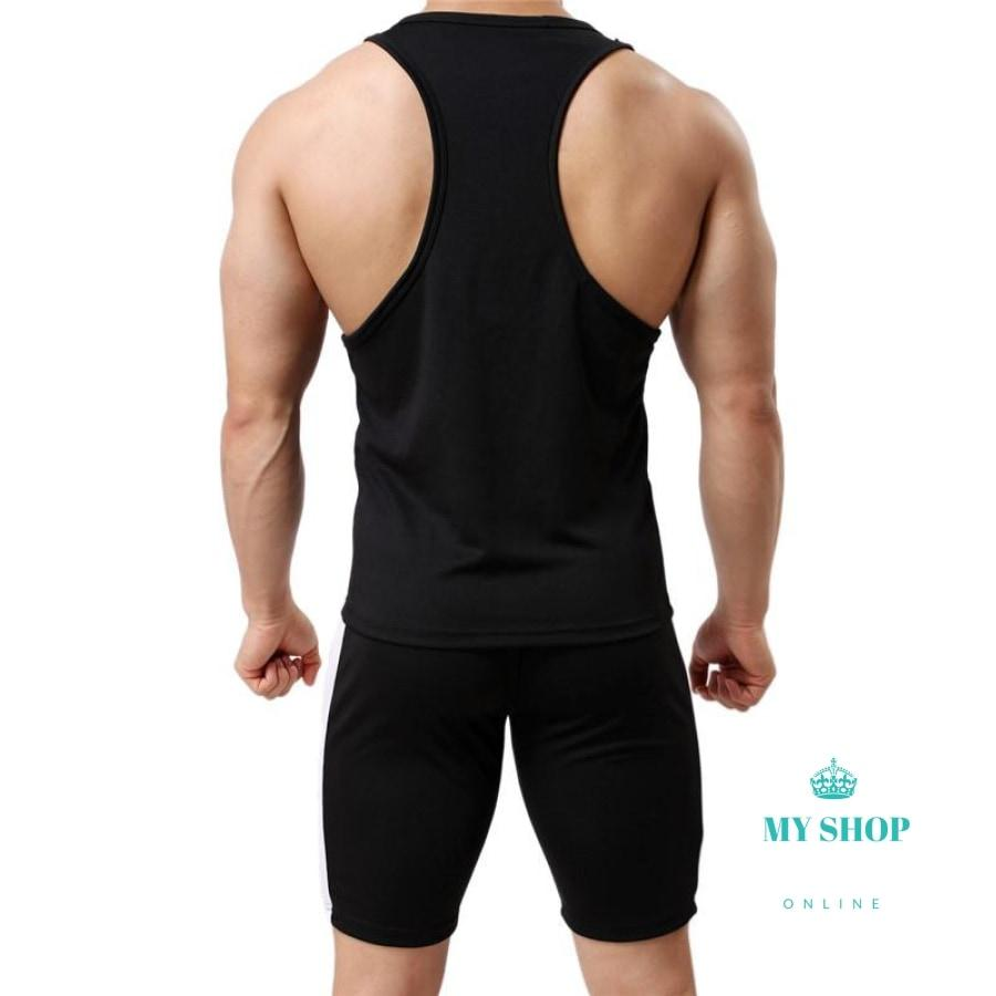 Mens Underwear Suit Tank Top Sleeveless Summer Vest And Underpants Tees Fitness Tights Set