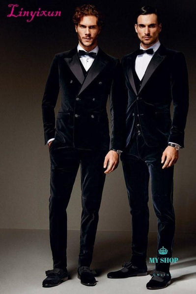 Navy Blue Double Breasted Velvet Men Suit Formal Slim Fit 3 Piece Accesorios