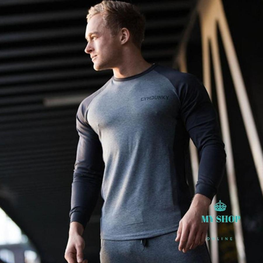 New Men Long Sleeved T Shirt Cotton Gyms Fitness Bodybuilding Workout Clothing Male Casual Fashion