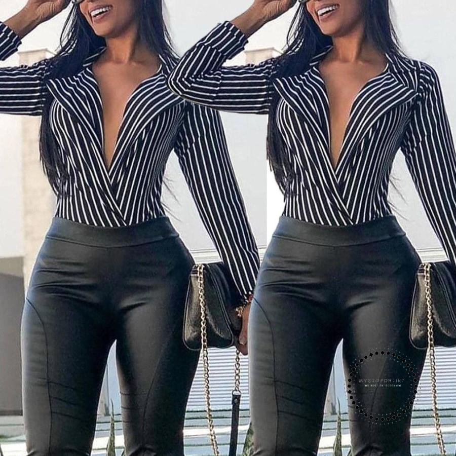 New Style Fashion Women Ladies Summer Deep V-Neck Long Sleeve Loose Casual Blouse Shirt Tops
