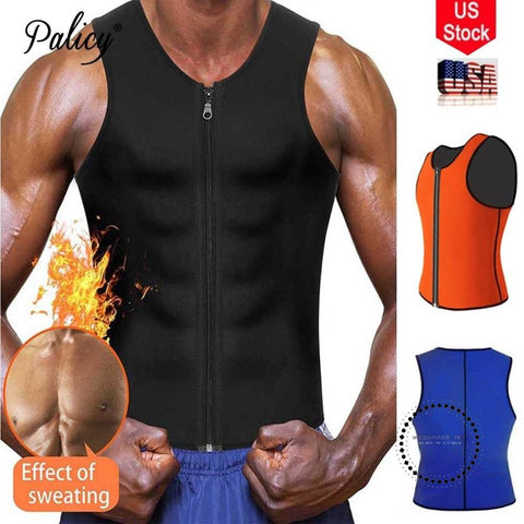 Palicy Mens Neoprene Shaper S-3Xl Vest Tank Tops Shapewear Tummy Control Body Trainer Girdle Belt