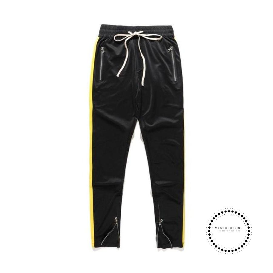 Pants Hip Hop Fashion Urban Clothing Fog Joining Together Jogger Black Yellow / L